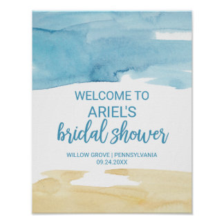 Watercolor Sand and Sea Bridal Shower Welcome Poster