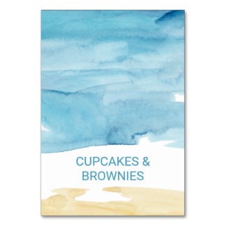 Watercolor Sand and Sea Buffet Food Labels Card