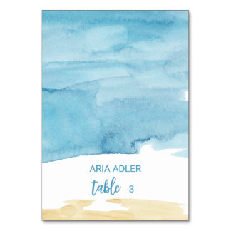 Watercolor Sand and Sea Escort Place Cards