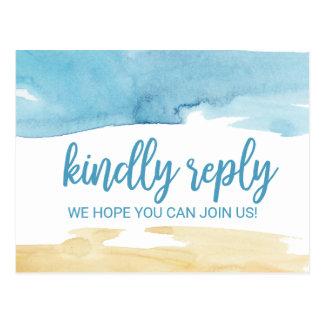 Watercolor Sand and Sea Menu Choice RSVP Postcard