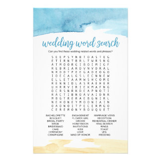 "Watercolor Sand and Sea ""Wedding Word Search"" Game Flyer"