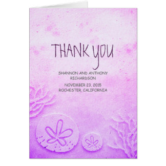 watercolor sand dollar beach wedding thank you card