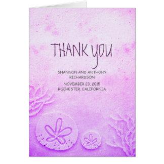 watercolor sand dollar beach wedding thank you note card