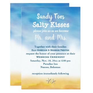 Watercolor Sandy Toes Wedding Invite - sky & sand