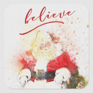 Watercolor Santa Claus with Believe Calligraphy Square Sticker