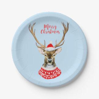 Watercolor Santa Reindeer on Blue Paper Plate