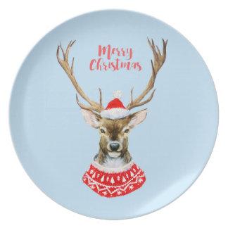 Watercolor Santa Reindeer on Blue Plate