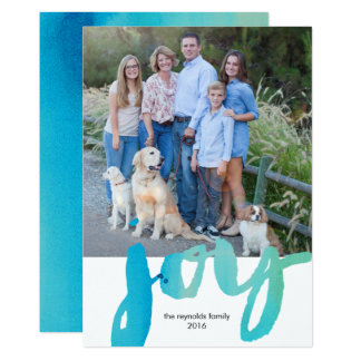 Watercolor Script Joy Holiday Photo Card
