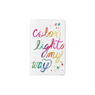 Watercolor Script Rainbow Brush Lettering Colorful Pocket Moleskine Notebook