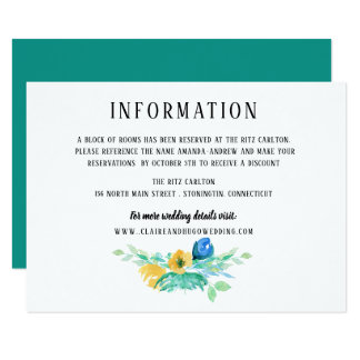 Watercolor Sea Blue Floral Wedding Information Card
