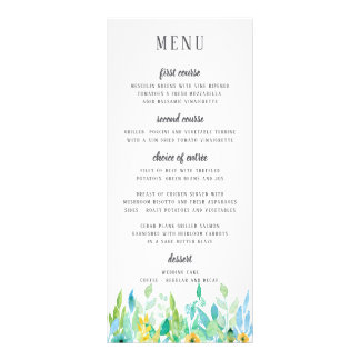 Watercolor Sea Blue Floral Wedding Menu