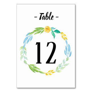 Watercolor Sea Blue Floral Wedding Table Number