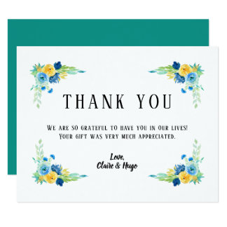 Watercolor Sea Blue Floral Wedding Thank You Card