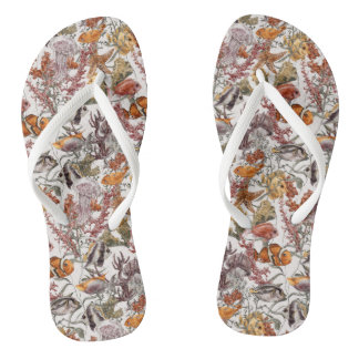 Watercolor Sea Life Pattern 2 Flip Flops