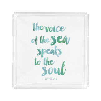 Watercolor Sea Quote Acrylic Tray