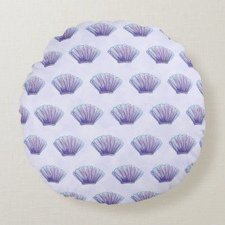WATERCOLOR SEA SHELL PATTERN, Lavender Round Pillow