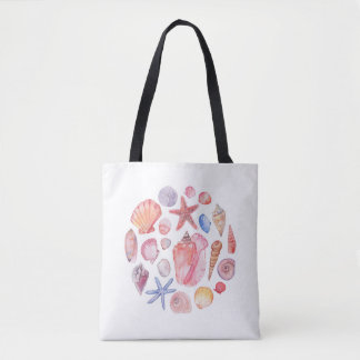 Watercolor Sea Shell Tote Bag