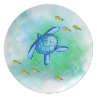 Watercolor Sea Turtle Melamine Plate