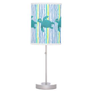Watercolor Sea Turtle Shibori Stripe Table Lamp