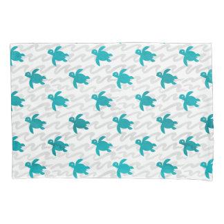 Watercolor Sea Turtle Shibori Wave Pillowcase