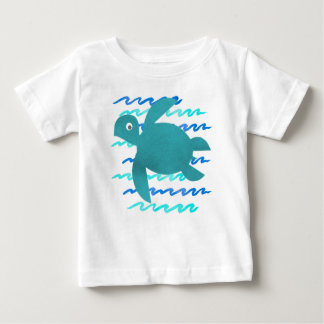 Watercolor Sea Turtle Waves Baby T-Shirt