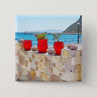 Watercolor sea view 2 inch square button
