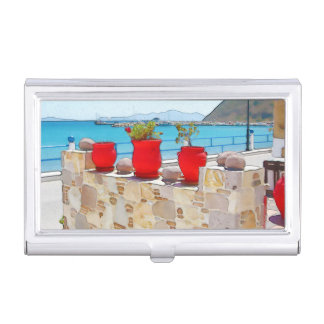 Watercolor sea view business card holder