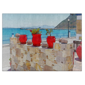 Watercolor sea view cutting board