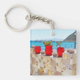 Watercolor sea view keychain