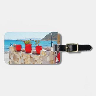 Watercolor sea view luggage tag