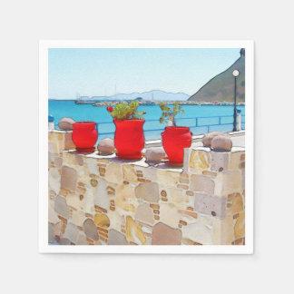 Watercolor sea view paper napkin