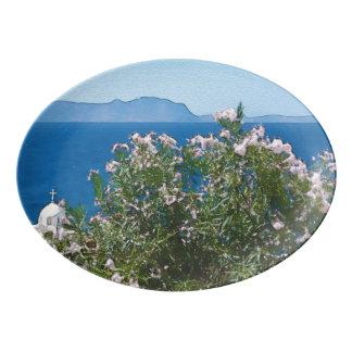 Watercolor sea view porcelain serving platter