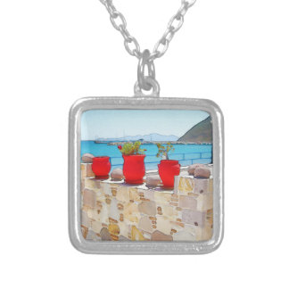 Watercolor sea view silver plated necklace