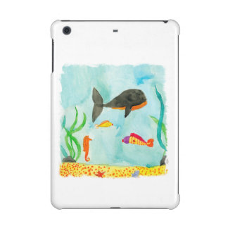 Watercolor Sea view with Whale and Seahorse iPad Mini Retina Covers