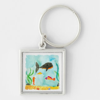 Watercolor Sea view with Whale and Seahorse Keychain
