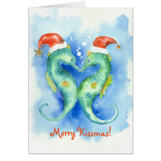 Watercolor Seahorse Christmas Card