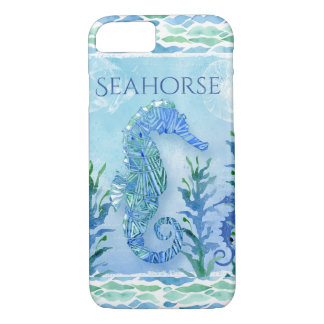 Watercolor Seahorse Ocean Beach Modern Geometric iPhone 8/7 Case