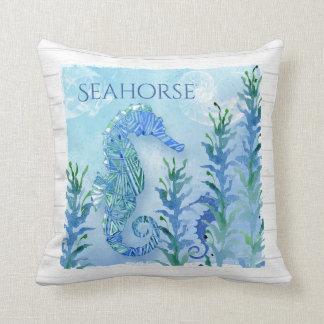 Watercolor Seahorse Vintage Nautilus Shell Ocean Throw Pillow