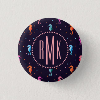 Watercolor Seahorses on Navy Blue Pattern 1 Inch Round Button