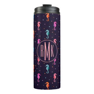 Watercolor Seahorses on Navy Blue Pattern Thermal Tumbler