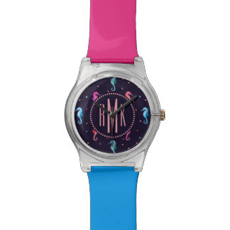 Watercolor Seahorses on Navy Blue Pattern Watch