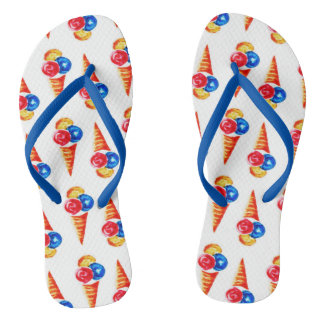 Watercolor seamless pattern with ice-cream cone flip flops