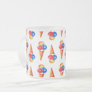 Watercolor seamless pattern with ice-cream cone frosted glass coffee mug
