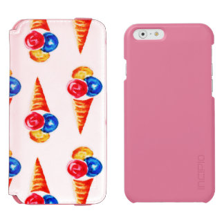 Watercolor seamless pattern with ice-cream cone, incipio watson™ iPhone 6 wallet case