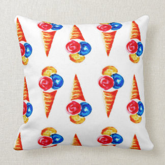 Watercolor seamless pattern with ice-cream cone throw pillow