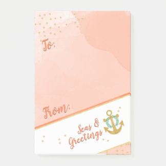 Watercolor Seas & Greetings Anchor & Stars Coral Post-it Notes