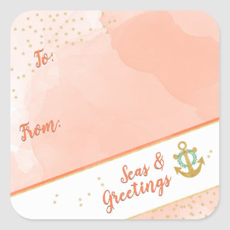 Watercolor Seas & Greetings Anchor & Stars Coral Square Sticker