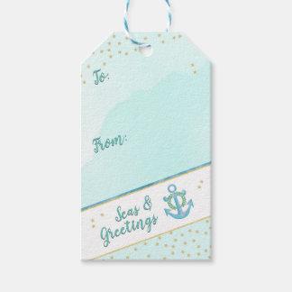 Watercolor Seas & Greetings Anchor & Stars Gift Tags