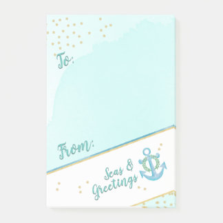 Watercolor Seas & Greetings Anchor & Stars Post-it Notes