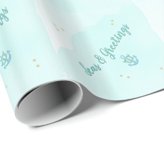 Watercolor Seas & Greetings Anchor & Stars Wrapping Paper